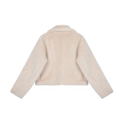 zipper detail fur jacket ivory